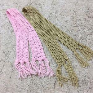 Little Girls Pink & Tan Knit Scarves